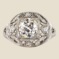 1920s Art Deco Diamonds Platinum Dome Ring