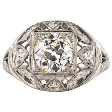 1920s Art Deco Diamonds Platinum Dome Ring