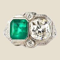 1925s Art Deco 2 Carat Emeralds 2.20 Carat Diamonds Platinum Ring