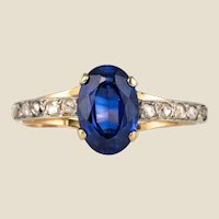 20th Century Sapphire Diamonds 18 Karat Yellow Gold Ring