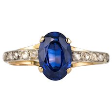 20th Century Sapphire Diamonds 18 Karat Yellow Gold Ring