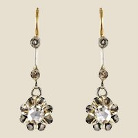 French 1900s Belle Epoque Rose Cut Diamond 18 Karat Yellow Gold Dangle Earrings