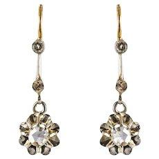French 1900s Belle Epoque Rose Cut Diamond 18 Karat Yellow Gold Dangle Earrings