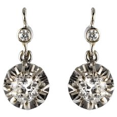 1950s Diamonds 18 Karat White Gold Drop Earrings