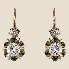 1950s French Diamonds 18 Karat Yellow Gold Lever, Back Earrings