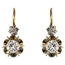 1950s French Diamonds 18 Karat Yellow Gold Lever, Back Earrings