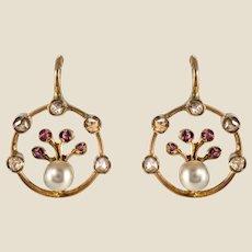 French 19th Century Pearl Diamonds Ruby Drop Earrings