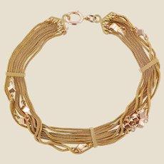 19th Century 18 Karat Rose Gold Chains and Cubes Bracelet
