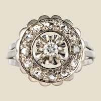 French 1950s Diamonds 18 Karat White Gold Round Ring