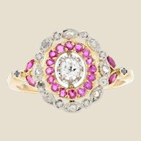 19th Century Ruby Diamonds 18 Karat Yellow Gold Ring