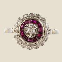 1920s French Art Deco Ruby Diamond 18 Karat White Gold Round Ring