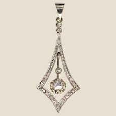 1930s Art Deco Diamonds 18 Karat White Gold Pendant
