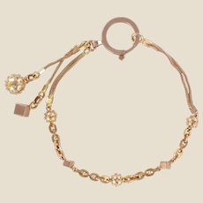 19th Century 18 Karat Rose Gold Chains Cubes and Studded Pearls Bracelet