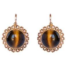 19th Century Tiger's Eye Natural Pearls 18 Karat Rose Gold Lever, Back Earrings