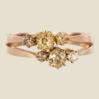19th Century Champagne and Yellow Diamond 18 Karat Rose Gold You and Me Ring
