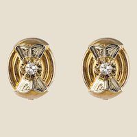 1950s Diamonds 18 Karat Yellow and White Gold Retro Stud Earrings