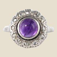 1930s Art Deco 1.75 Carat Amethyst Diamonds 18 Karat White Gold Ring