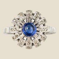 French 1930s Cabochon Sapphire Diamonds Round Ring
