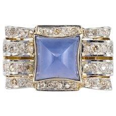 1925s Art Deco Sugarloaf Chalcedony Rose- Cut Diamonds 18 Karat Yellow Gold Ring