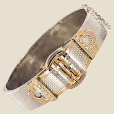 French 20th Century Belt Pattern Silver Bangle Bracelet