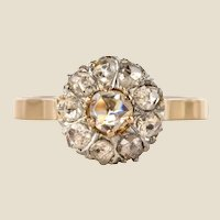 French 19th Century Rose Cut Diamonds 18 Karat Yellow Gold Daisy Ring