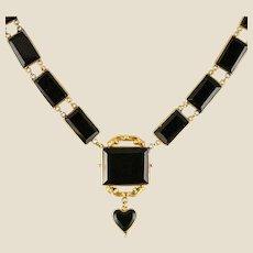 19th Century Victorian Onyx Plate 14 Karat Yellow Gold Necklace