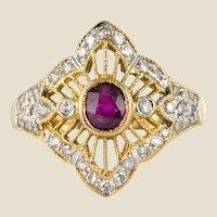 Modern Ruby Diamonds 18 Karat Yellow Gold Lace Ring