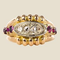 French 1950s Ruby Diamonds 18 Karat Gold Gadroon Tank Ring