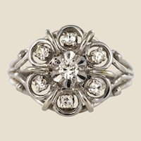 French 1960s Diamonds 18 Karat White Gold Thread Ring