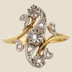 1890s Belle Époque Rose-Cut Diamonds 18 Karat Yellow Gold Ring