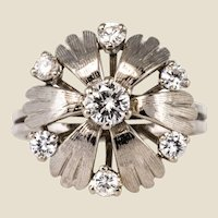 French 1970s Diamonds 18 Karat White Gold Petals Ring