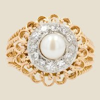 French 1950s Pearl Diamonds 18 Karat Rose Gold Strings Ring