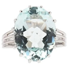 French 1950s 6.95 Carat Aquamarine Diamond 18 Karat White Gold Ring