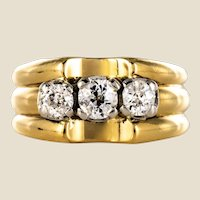 1940s 3 Diamonds 18 Karat Yellow Gold Platinum Tank Ring