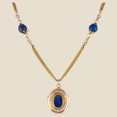 French 19th Century Lapis Lazuli Natural Pearls 18 Karat Gold Medallion Necklace