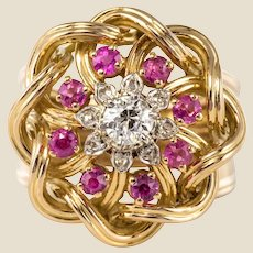 French 1950s Ruby Diamonds Intertwined 18 Karat Gold Threads Ring