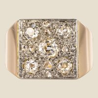 1930s Art Deco Diamond Paving 18 Karat Rose Gold Ring