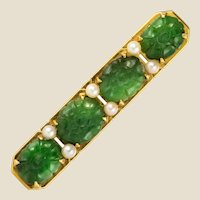 1930s Jade Cultured Pearls 18 Karat Yellow Gold Brooch