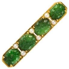 1930s Jade Cultured Pearls 18 Karat Yellow Gold Brooch