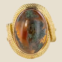 1960s Moss Agate 18 Karat Yellow Gold Thread Ring