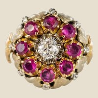 1950s Diamonds Ruby 18 Karat Yellow Gold Flower Ring