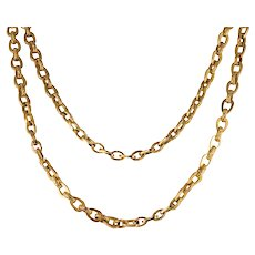 19th Century Smooth and Chiseled 18 Karat Yellow Gold Long Necklace