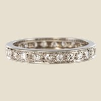 French 1950s Diamonds 18 Karat White Gold Wedding Ring