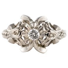 French 1970s Diamonds 18 Karat White Gold Ring