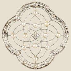 1890s Belle Époque Natural Pearl Diamonds 18 Karat Gold Platinum Brooch