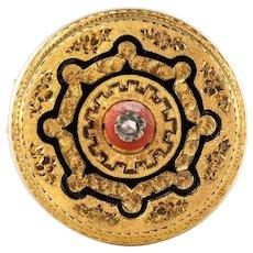 French 19th Century Coral Enamel Diamond 18 Karat Yellow Gold Brooch