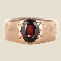 19th Century 18 Karat Rose Gold 1.20 Carat Garnet Bangle Men's Ring
