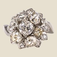 French 1950s 2.40 Carat Diamonds 18 Karat White Gold Retro Bouquet Ring