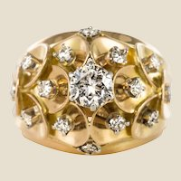 1950s Retro Diamond 18 Karat Yellow Gold Scale Dome Ring