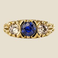 20th Century Sapphire Diamonds 18 Karat Yellow Gold Garter Ring